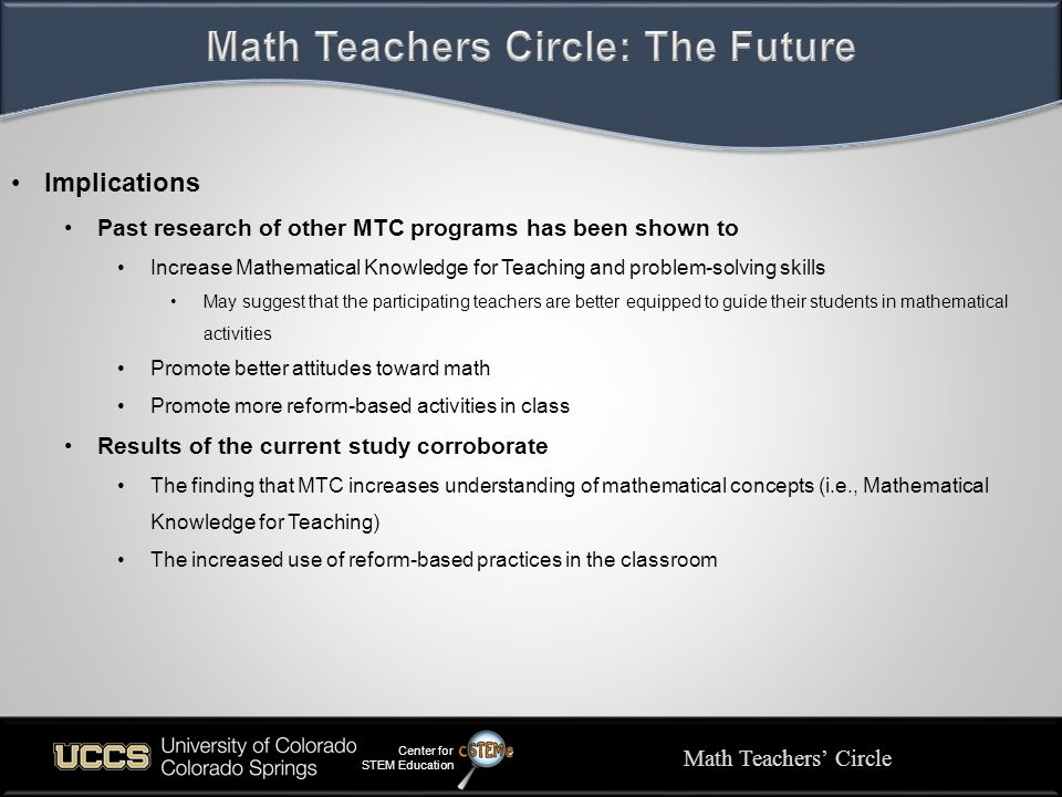 Math Teachers' Circle Center for STEM Education Implications Past research of other MTC programs has been shown to Increase Mathematical Knowledge for Teaching and problem-solving skills May suggest that the participating teachers are better equipped to guide their students in mathematical activities Promote better attitudes toward math Promote more reform-based activities in class Results of the current study corroborate The finding that MTC increases understanding of mathematical concepts (i.e., Mathematical Knowledge for Teaching) The increased use of reform-based practices in the classroom