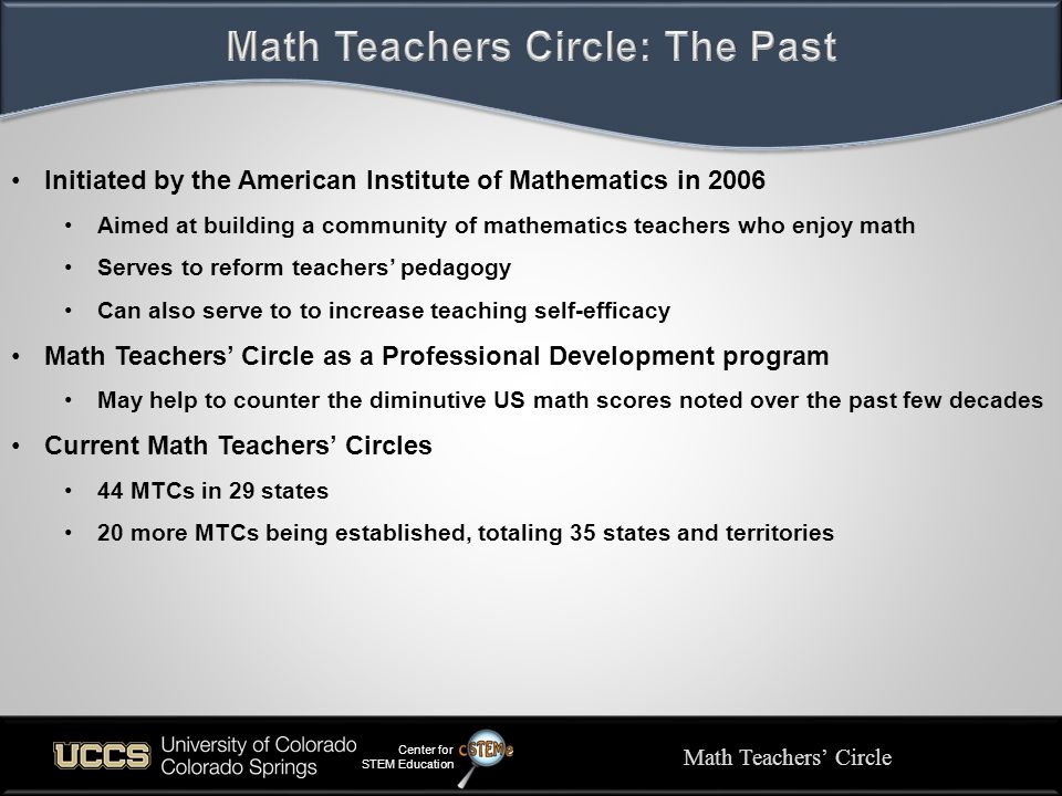 Initiated by the American Institute of Mathematics in 2006 Aimed at building a community of mathematics teachers who enjoy math Serves to reform teachers' pedagogy Can also serve to to increase teaching self-efficacy Math Teachers' Circle as a Professional Development program May help to counter the diminutive US math scores noted over the past few decades Current Math Teachers' Circles 44 MTCs in 29 states 20 more MTCs being established, totaling 35 states and territories Math Teachers' Circle Center for STEM Education