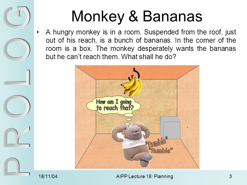 18/11/04AIPP Lecture 18: Planning3 Monkey & Bananas A hungry monkey is in a room.