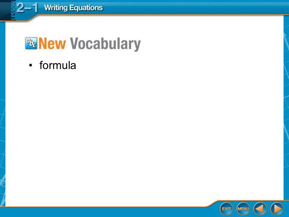 Vocabulary formula
