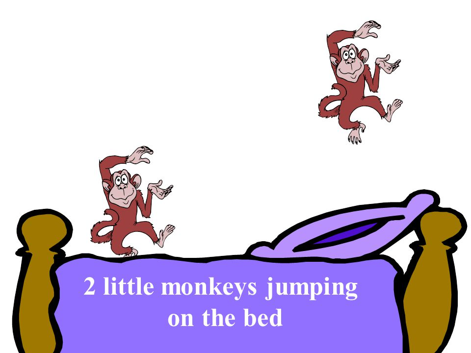 2 little monkeys jumping on the bed