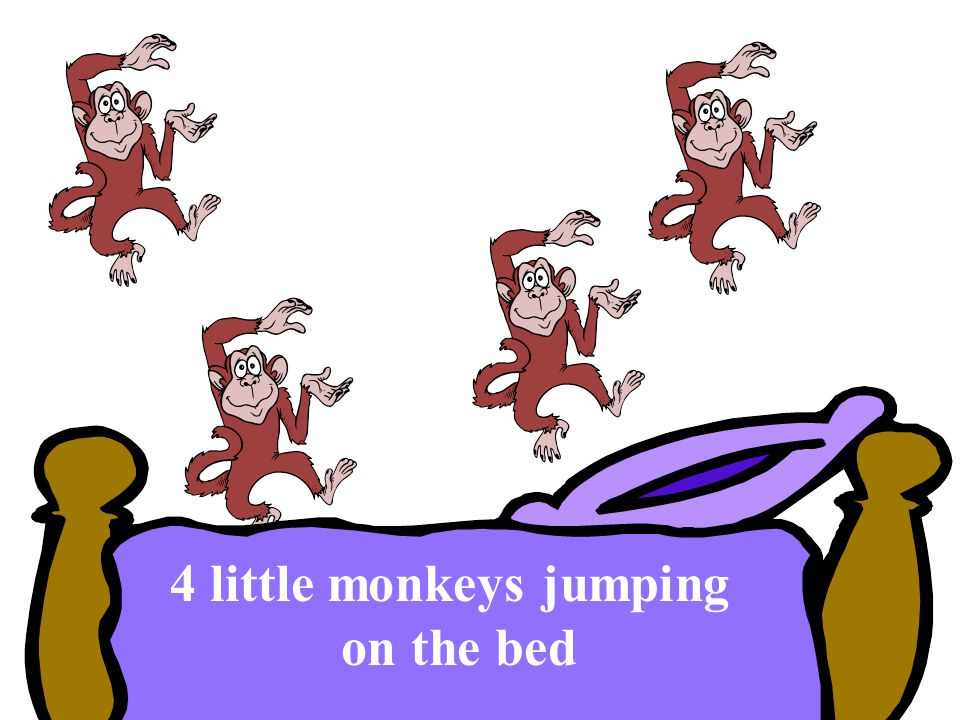 4 little monkeys jumping on the bed