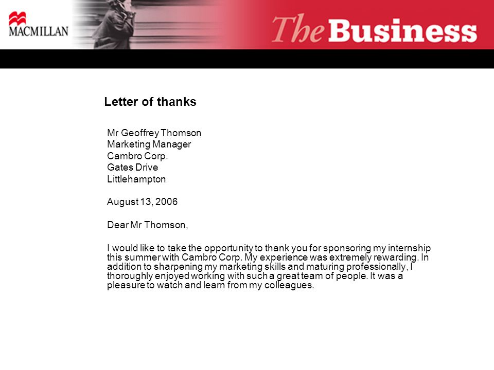 Letter of thanks  Mr Geoffrey Thomson  Marketing Manager  Cambro Corp.