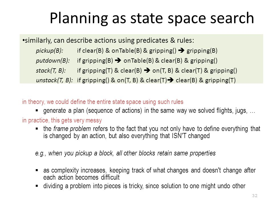32 Planning as state space search similarly, can describe actions using predicates & rules: pickup(B): if clear(B) & onTable(B) & gripping()  gripping(B) putdown(B): if gripping(B)  onTable(B) & clear(B) & gripping() stack(T, B): if gripping(T) & clear(B)  on(T, B) & clear(T) & gripping() unstack(T, B):if gripping() & on(T, B) & clear(T)  clear(B) & gripping(T) in theory, we could define the entire state space using such rules  generate a plan (sequence of actions) in the same way we solved flights, jugs, … in practice, this gets very messy  the frame problem refers to the fact that you not only have to define everything that is changed by an action, but also everything that ISN T changed e.g., when you pickup a block, all other blocks retain same properties  as complexity increases, keeping track of what changes and doesn t change after each action becomes difficult  dividing a problem into pieces is tricky, since solution to one might undo other