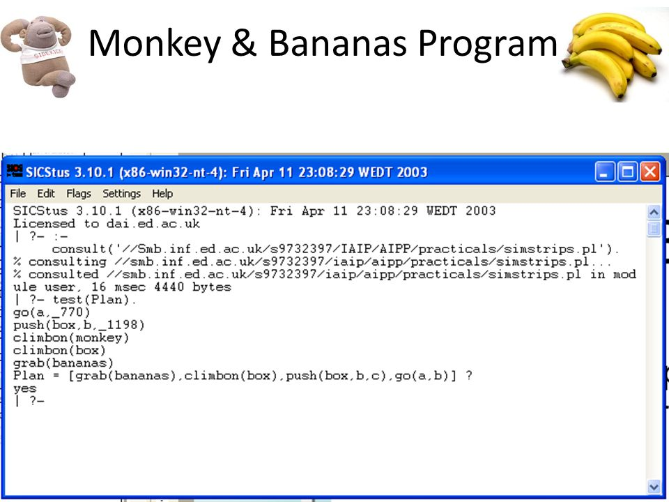 Monkey & Bananas Program