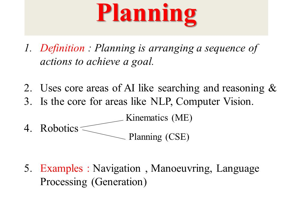 Planning 1.Definition : Planning is arranging a sequence of actions to achieve a goal.