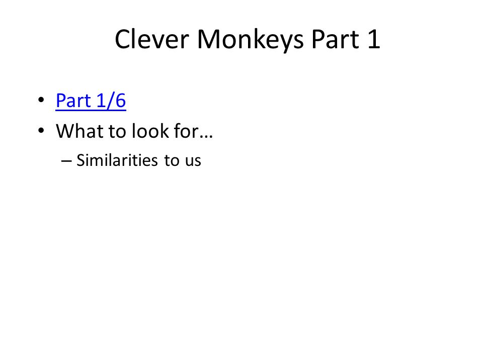 Clever Monkeys Part 2  Part 2/6 Part 2/6  What to look for…  Basic Primate Family Unit  Enculturation Learned Behaviors The Piper Plant  Social Behavior Bonding Grooming Aggression