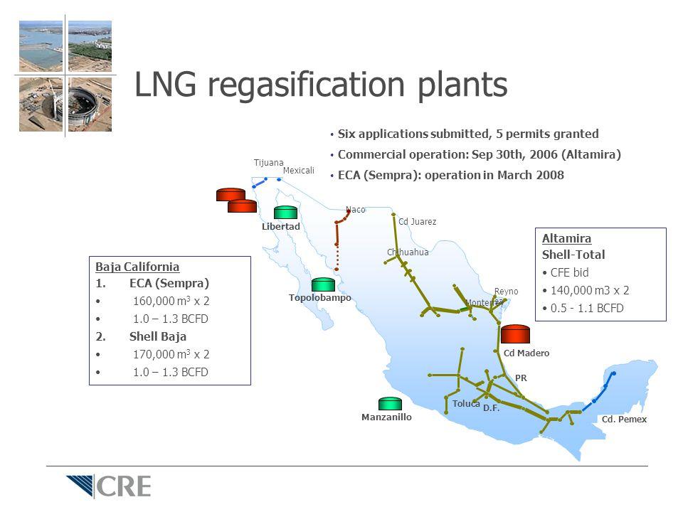 LNG regasification plants Cd. Pemex Cd Juarez Chihuahua Monterrey Reyno sa Cd Madero Toluca D.F.