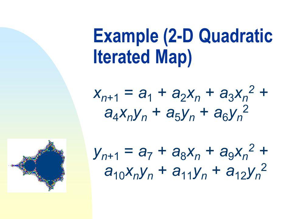 Example (2-D Quadratic Iterated Map) x n+1 = a 1 + a 2 x n + a 3 x n 2 + a 4 x n y n + a 5 y n + a 6 y n 2 y n+1 = a 7 + a 8 x n + a 9 x n 2 + a 10 x n y n + a 11 y n + a 12 y n 2
