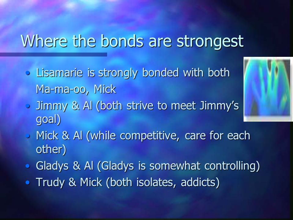 Where the bonds are strongest Lisamarie is strongly bonded with bothLisamarie is strongly bonded with both Ma-ma-oo, Mick Ma-ma-oo, Mick Jimmy & Al (both strive to meet Jimmy's goal)Jimmy & Al (both strive to meet Jimmy's goal) Mick & Al (while competitive, care for each other)Mick & Al (while competitive, care for each other) Gladys & Al (Gladys is somewhat controlling)Gladys & Al (Gladys is somewhat controlling) Trudy & Mick (both isolates, addicts)Trudy & Mick (both isolates, addicts)