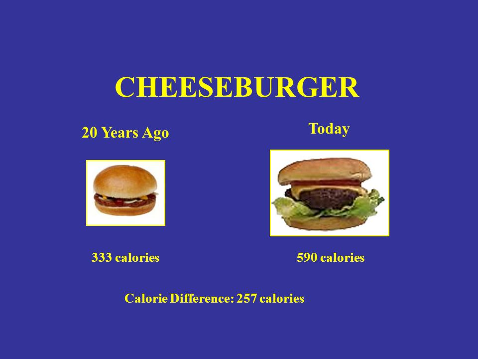Calorie Difference: 257 calories 590 calories CHEESEBURGER 20 Years Ago Today 333 calories