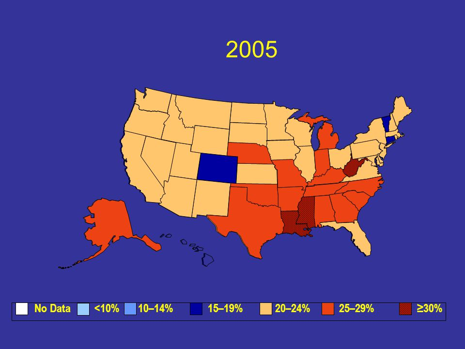 2005 No Data <10% 10–14% 15–19% 20–24% 25–29% ≥30%