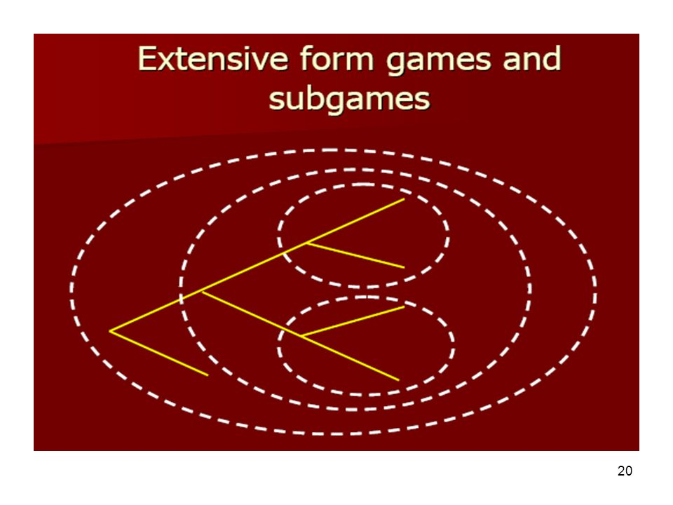 19 Solving sequential games To solve a sequential game we look for the 'subgame perfect Nash equilibrium' For our purposes, this means we solve the ga