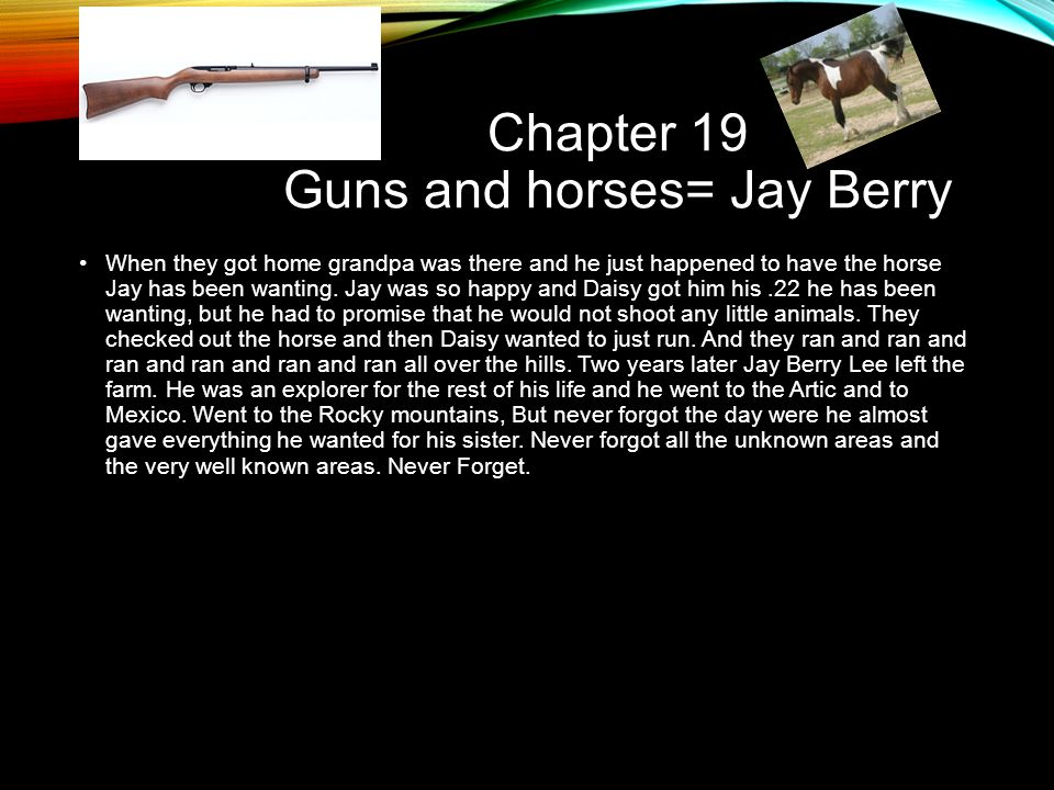 Chapter 19 Guns and horses= Jay Berry When they got home grandpa was there and he just happened to have the horse Jay has been wanting. Jay was so hap