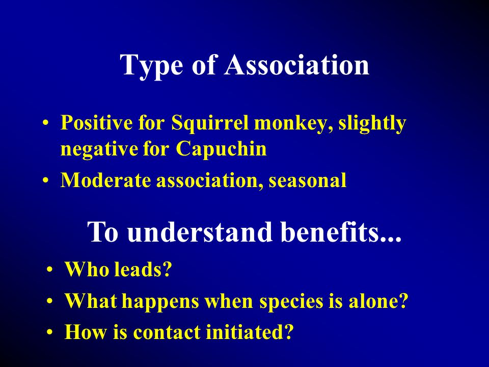Type of Association Positive for Squirrel monkey, slightly negative for Capuchin Moderate association, seasonal To understand benefits...