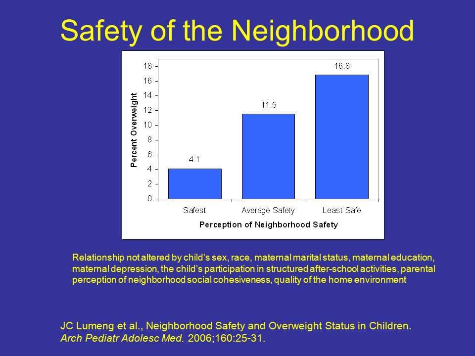 Safety of the Neighborhood JC Lumeng et al., Neighborhood Safety and Overweight Status in Children.