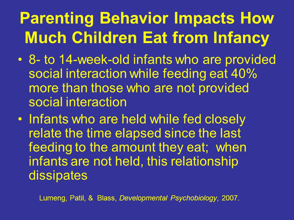 8- to 14-week-old infants who are provided social interaction while feeding eat 40% more than those who are not provided social interaction Infants wh