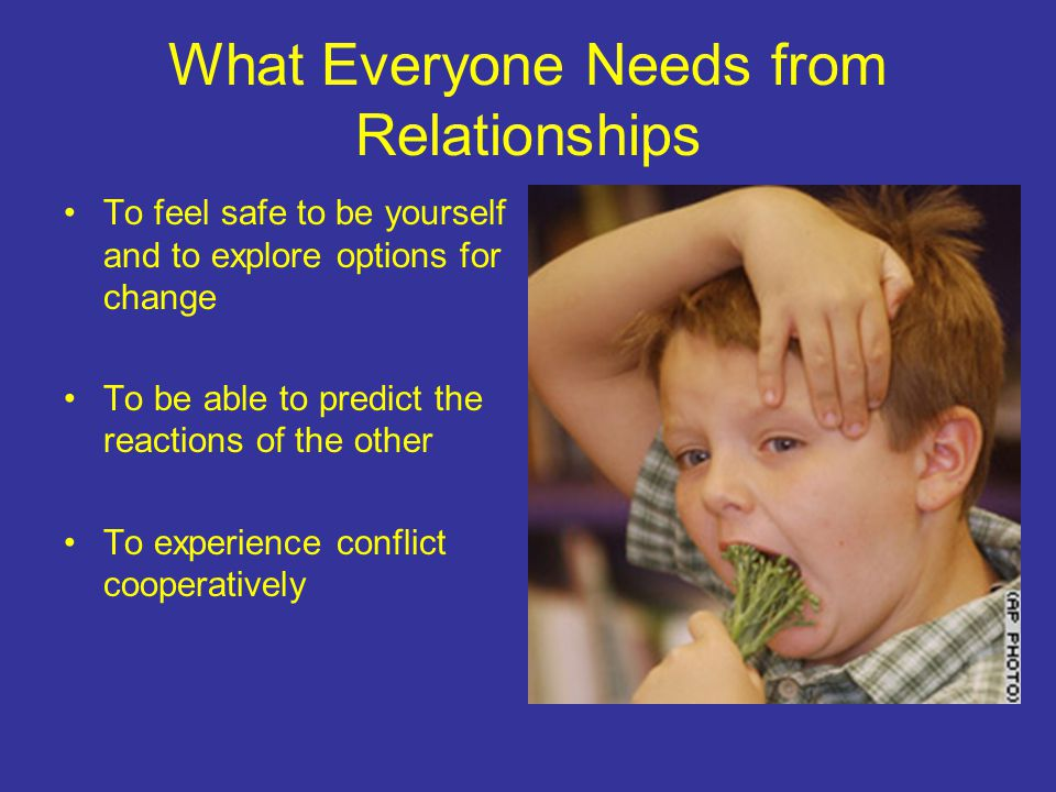 What Everyone Needs from Relationships To feel safe to be yourself and to explore options for change To be able to predict the reactions of the other To experience conflict cooperatively