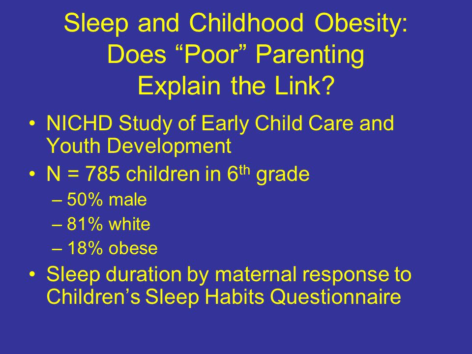 Sleep and Childhood Obesity: Does Poor Parenting Explain the Link.