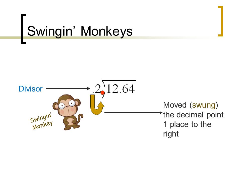 Steps in Dividing Decimals 1.Make the divisor (outside number) a whole number by moving (swingin') the decimal to the right as many places as it takes