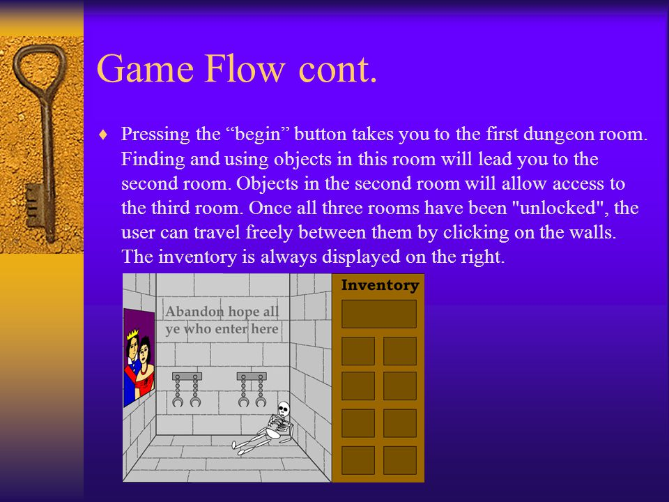 Game Flow cont. The character is never visible because it is a first person game.