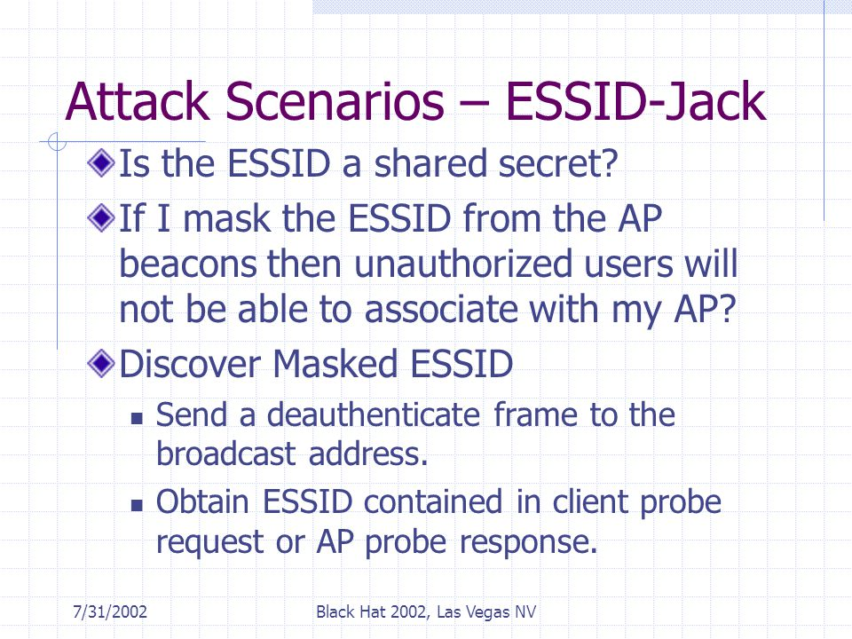 7/31/2002Black Hat 2002, Las Vegas NV Attack Scenarios – ESSID-Jack Is the ESSID a shared secret.