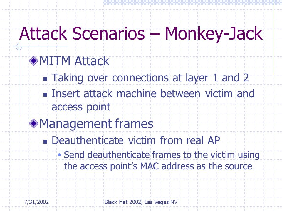7/31/2002Black Hat 2002, Las Vegas NV Attack Scenarios – Monkey-Jack MITM Attack Taking over connections at layer 1 and 2 Insert attack machine between victim and access point Management frames Deauthenticate victim from real AP  Send deauthenticate frames to the victim using the access point's MAC address as the source
