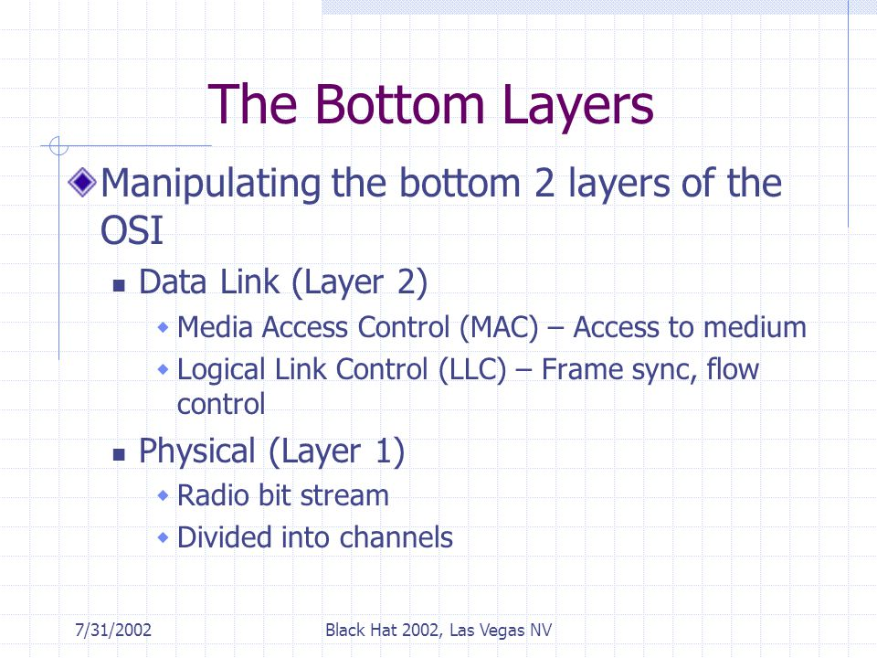 7/31/2002Black Hat 2002, Las Vegas NV The Bottom Layers Manipulating the bottom 2 layers of the OSI Data Link (Layer 2)  Media Access Control (MAC) – Access to medium  Logical Link Control (LLC) – Frame sync, flow control Physical (Layer 1)  Radio bit stream  Divided into channels