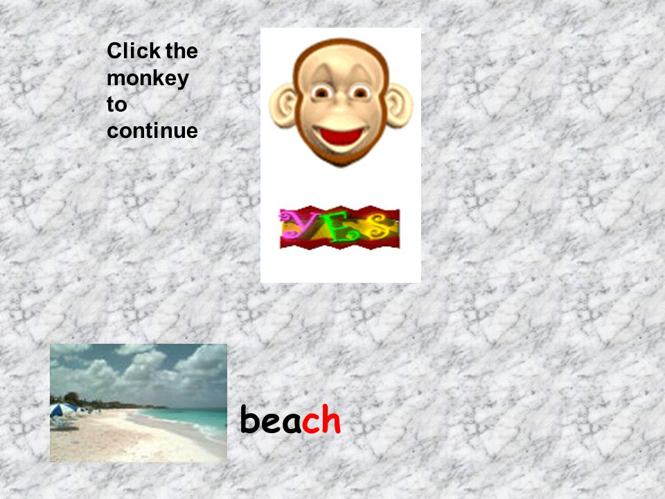 Click the monkey to continue beach