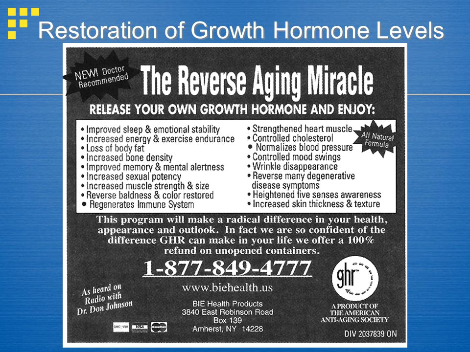 Restoration of Growth Hormone Levels