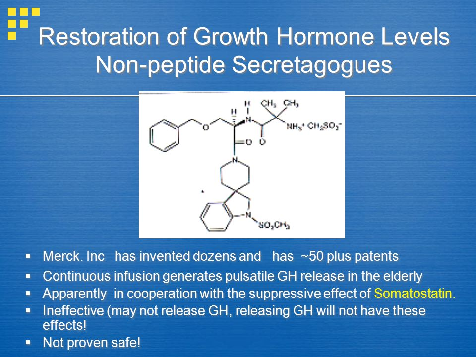 Restoration of Growth Hormone Levels Non-peptide Secretagogues  Merck.