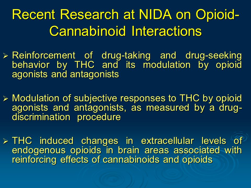 Recent Research at NIDA on Opioid- Cannabinoid Interactions  Reinforcement of drug-taking and drug-seeking behavior by THC and its modulation by opioid agonists and antagonists  Modulation of subjective responses to THC by opioid agonists and antagonists, as measured by a drug- discrimination procedure  THC induced changes in extracellular levels of endogenous opioids in brain areas associated with reinforcing effects of cannabinoids and opioids