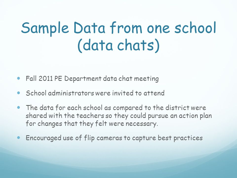 Sample Data from one school (data chats) Fall 2011 PE Department data chat meeting School administrators were invited to attend The data for each scho