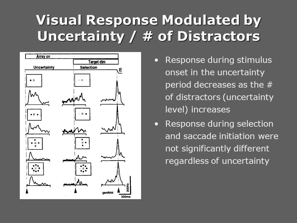Visual Response Modulated by Uncertainty / # of Distractors Response during stimulus onset in the uncertainty period decreases as the # of distractors (uncertainty level) increases Response during selection and saccade initiation were not significantly different regardless of uncertainty
