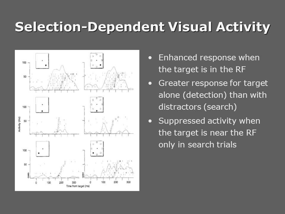 Selection-Dependent Visual Activity Enhanced response when the target is in the RF Greater response for target alone (detection) than with distractors (search) Suppressed activity when the target is near the RF only in search trials