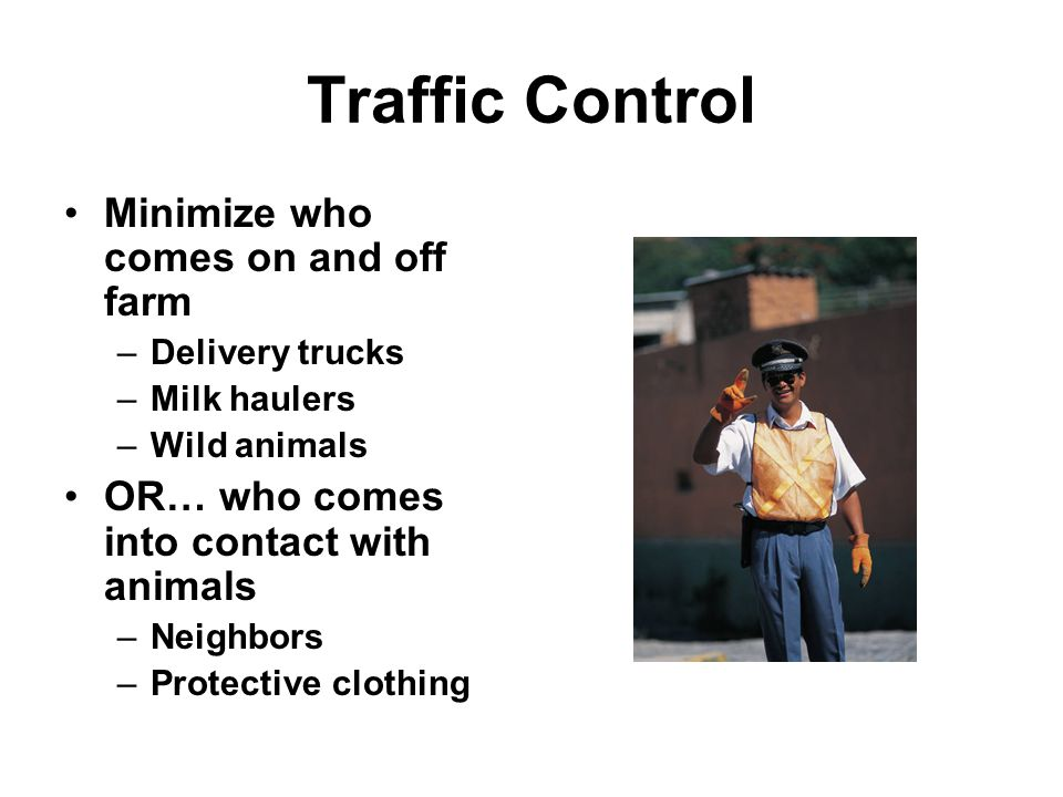 Traffic Control Minimize who comes on and off farm –Delivery trucks –Milk haulers –Wild animals OR… who comes into contact with animals –Neighbors –Protective clothing