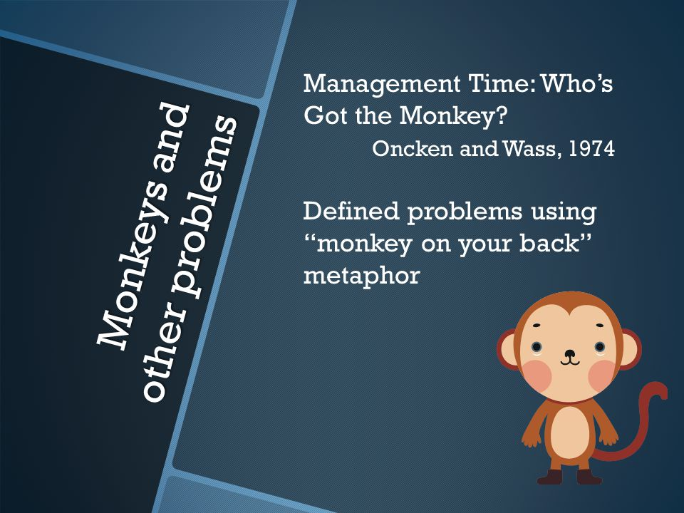 Monkeys and other problems Management Time: Who's Got the Monkey.