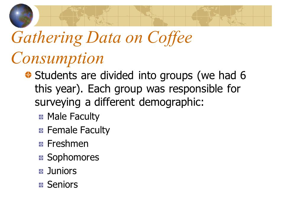 Gathering Data on Coffee Consumption Students are divided into groups (we had 6 this year).