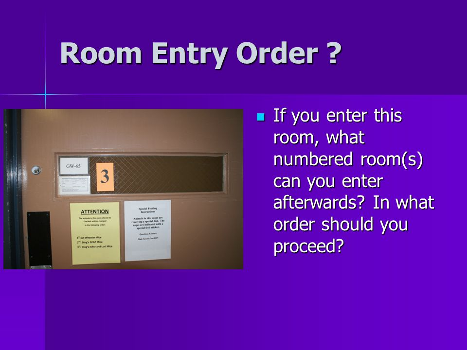 Room Entry Order . If you enter this room, what numbered room(s) can you enter afterwards.