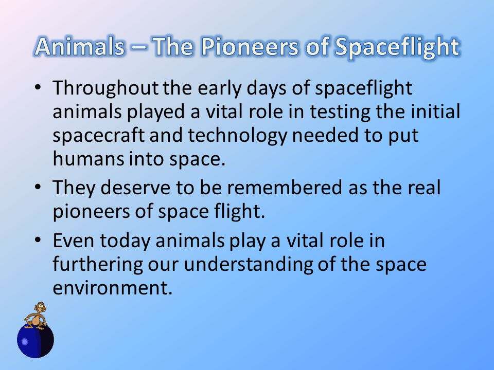 Throughout the early days of spaceflight animals played a vital role in testing the initial spacecraft and technology needed to put humans into space.