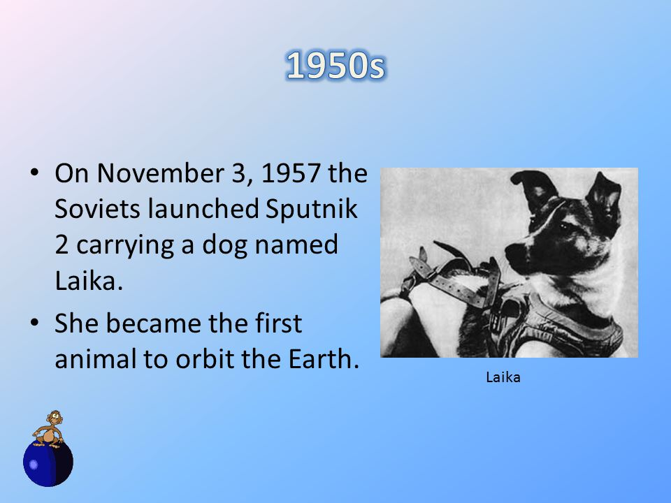 On November 3, 1957 the Soviets launched Sputnik 2 carrying a dog named Laika.