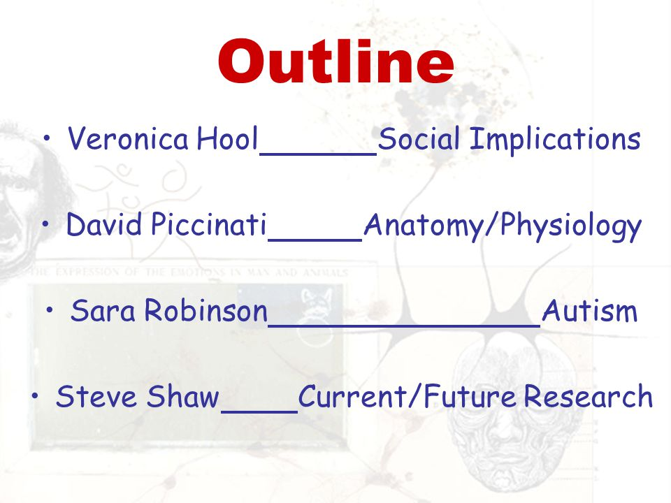 Outline Veronica HoolSocial Implications David Piccinati Anatomy/Physiology Sara Robinson Autism Steve ShawCurrent/Future Research