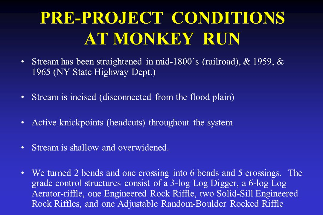 PRE-PROJECT CONDITIONS AT MONKEY RUN Stream has been straightened in mid-1800's (railroad), & 1959, & 1965 (NY State Highway Dept.) Stream is incised (disconnected from the flood plain) Active knickpoints (headcuts) throughout the system Stream is shallow and overwidened.