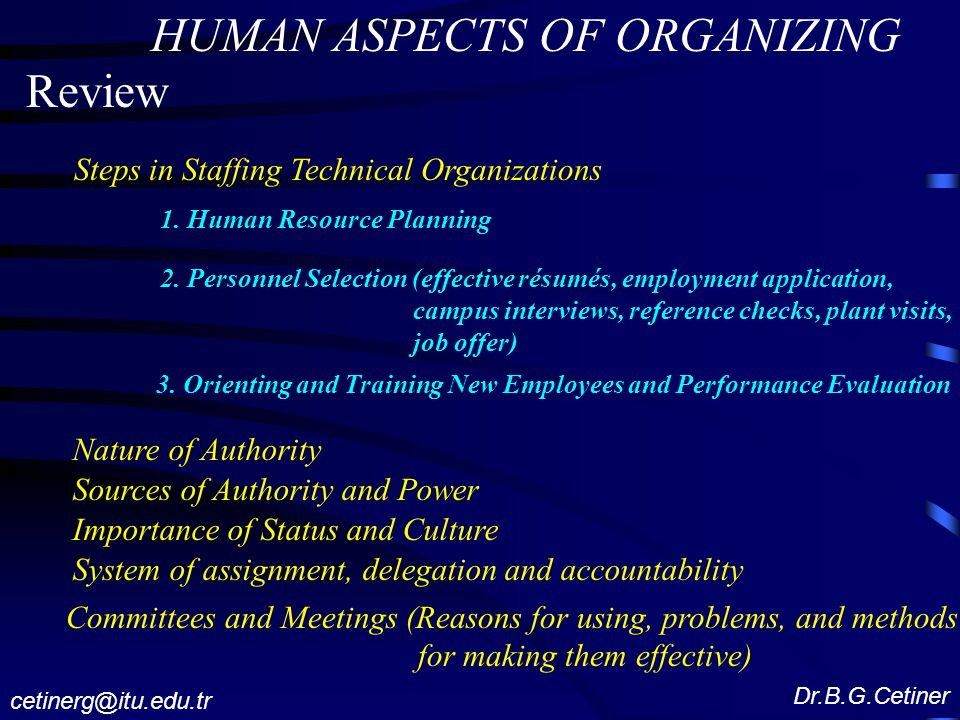 Human Aspects Of Organizing Review Steps In Staffing Technical