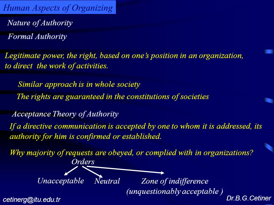 Nature of Authority Dr.B.G.Cetiner cetinerg@itu.edu.tr Human Aspects of Organizing Legitimate power, the right, based on one's position in an organization, to direct the work of activities.