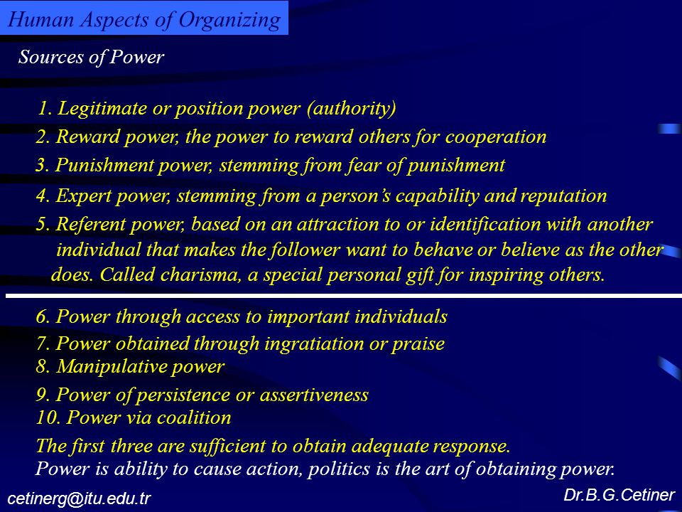 Sources of Power Dr.B.G.Cetiner cetinerg@itu.edu.tr Human Aspects of Organizing 1.