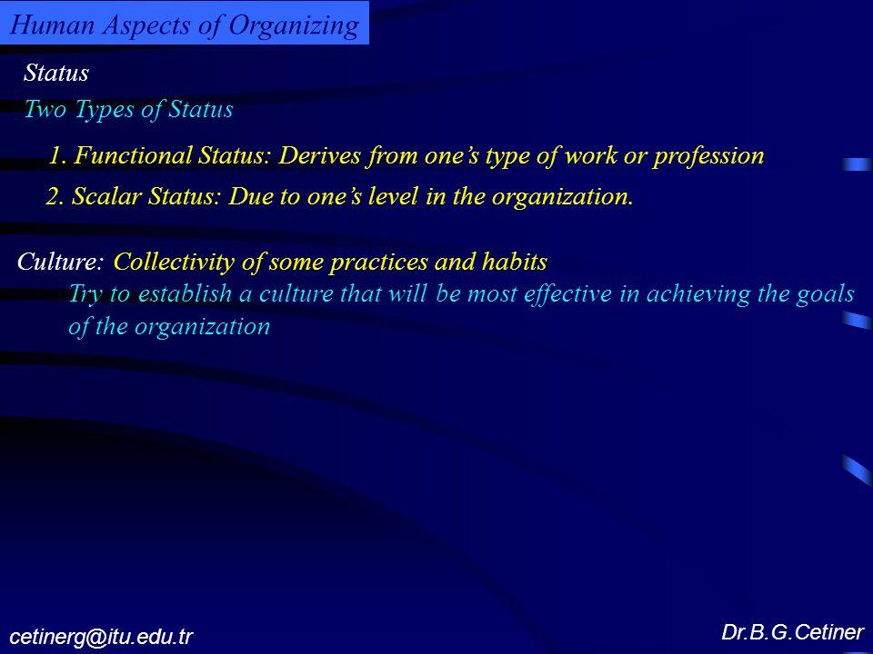Status Dr.B.G.Cetiner cetinerg@itu.edu.tr Human Aspects of Organizing 1.