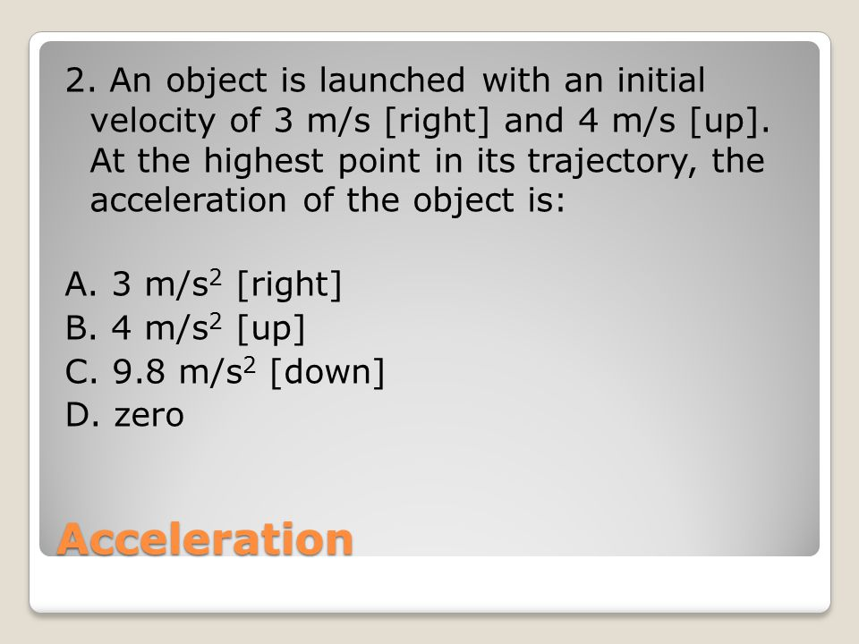 Problem Solving A projectile is launched from ground level with an initial velocity of 12 m/s [45 o above the horizontal].