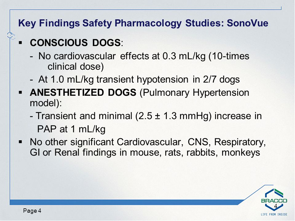 Page 5 5 Toxicology Studies: SonoVue Intravenous bolus administration Clinical formulation used Max doses 27-54 times the human dose (MHDbsa)  Single dose studies (rat, monkey)  4-week repeated dose studies (rat, monkey)  Genetic toxicology  Reproductive toxicology (rat, rabbit)  Other studies (local tolerance; blood compatibility)