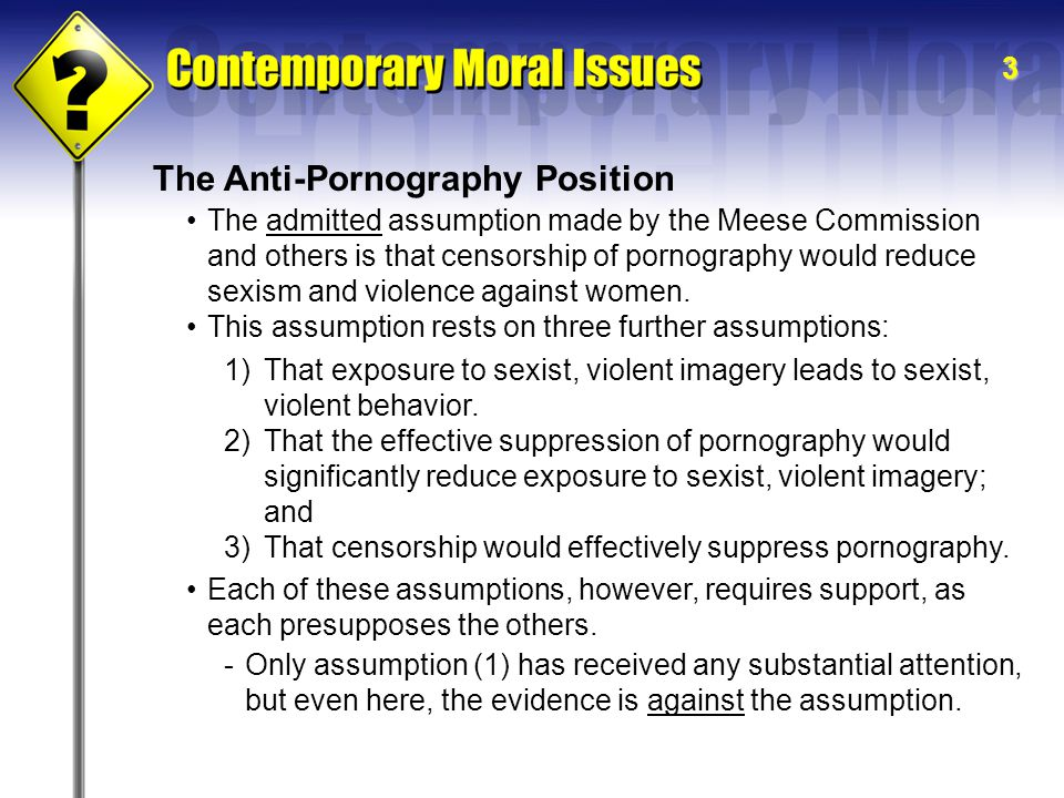 3 The Anti-Pornography Position The admitted assumption made by the Meese Commission and others is that censorship of pornography would reduce sexism